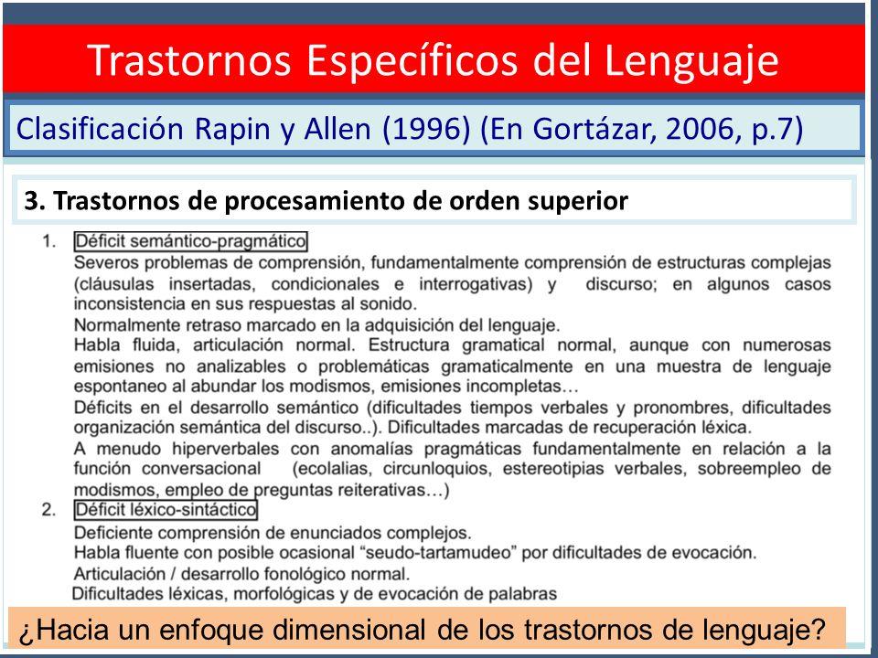 Clasificación Rapin y Allen (1996) (En Gortázar, 2006, p.7) Diagnóstico TEL Trastornos Específicos del Lenguaje 3. Trastornos de procesamiento de orde