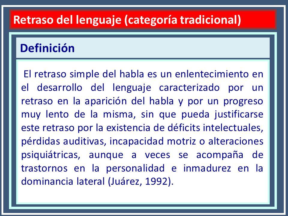 Características Retraso del lenguaje Dificultad centrada en aspectos expresivos Afecta por igual a todos los componentes del lenguaje Se adquiere el lenguaje 12 o 18 meses más tarde de lo habitual.