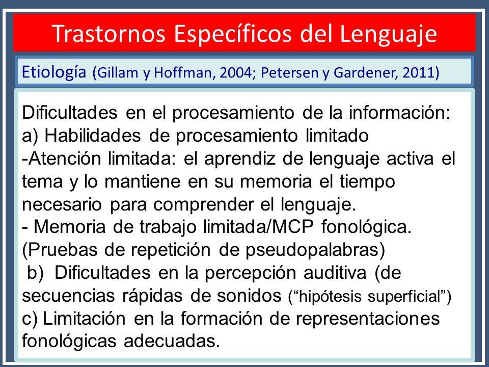 Etiología (Gillam y Hoffman, 2004; Petersen y Gardener, 2011) Diagnóstico TEL Trastornos Específicos del Lenguaje Dificultades en el procesamiento de