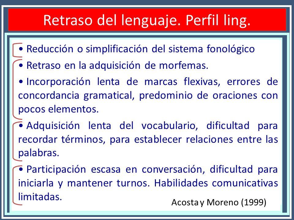 Retraso del lenguaje. Perfil ling. Reducción o simplificación del sistema fonológico Retraso en la adquisición de morfemas. Incorporación lenta de mar