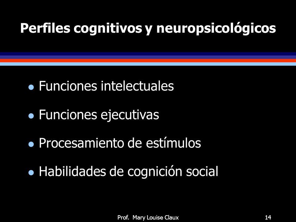 Prof. Mary Louise Claux14 Perfiles cognitivos y neuropsicológicos l Funciones intelectuales l Funciones ejecutivas l Procesamiento de estímulos l Habi