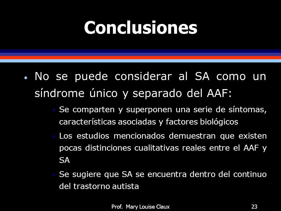 Prof. Mary Louise Claux23 Conclusiones No se puede considerar al SA como un síndrome único y separado del AAF: Se comparten y superponen una serie de