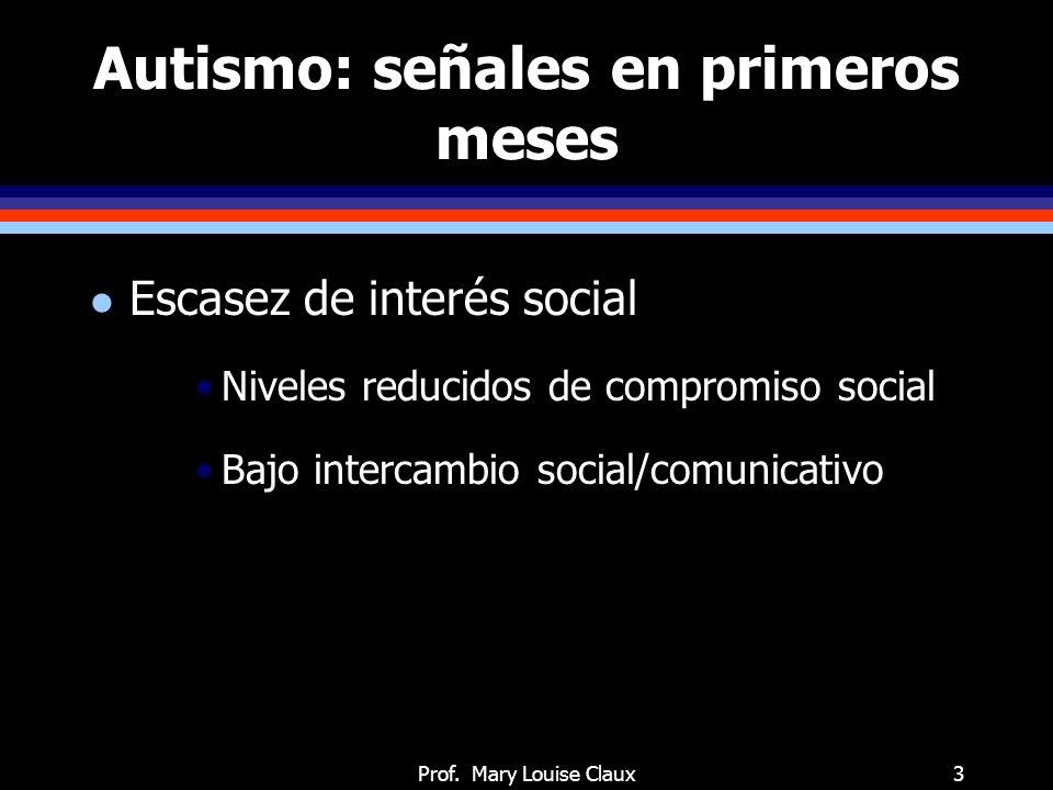 Prof. Mary Louise Claux3 Autismo: señales en primeros meses l Escasez de interés social Niveles reducidos de compromiso social Bajo intercambio social