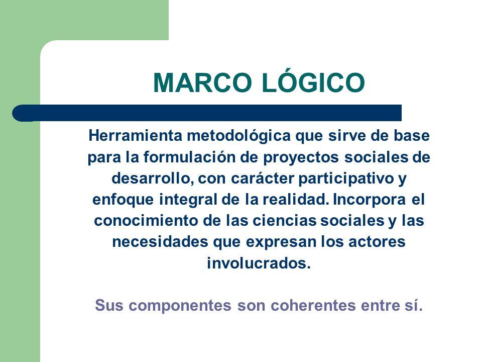 MARCO LÓGICO Herramienta metodológica que sirve de base para la formulación de proyectos sociales de desarrollo, con carácter participativo y enfoque
