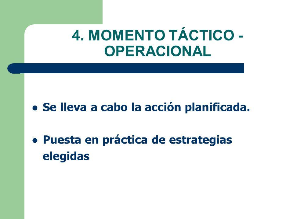 4. MOMENTO TÁCTICO - OPERACIONAL Se lleva a cabo la acción planificada. Puesta en práctica de estrategias elegidas