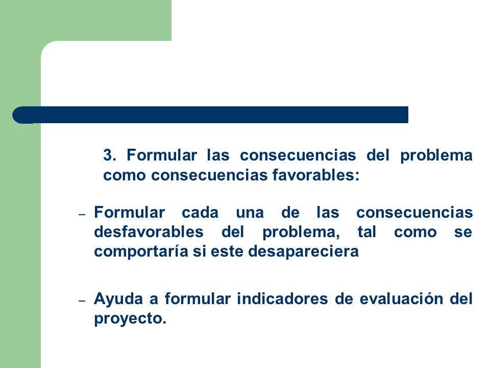 3. Formular las consecuencias del problema como consecuencias favorables: – Formular cada una de las consecuencias desfavorables del problema, tal com