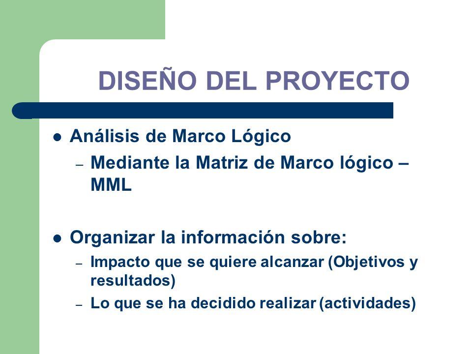 Análisis de Marco Lógico – Mediante la Matriz de Marco lógico – MML Organizar la información sobre: – Impacto que se quiere alcanzar (Objetivos y resu