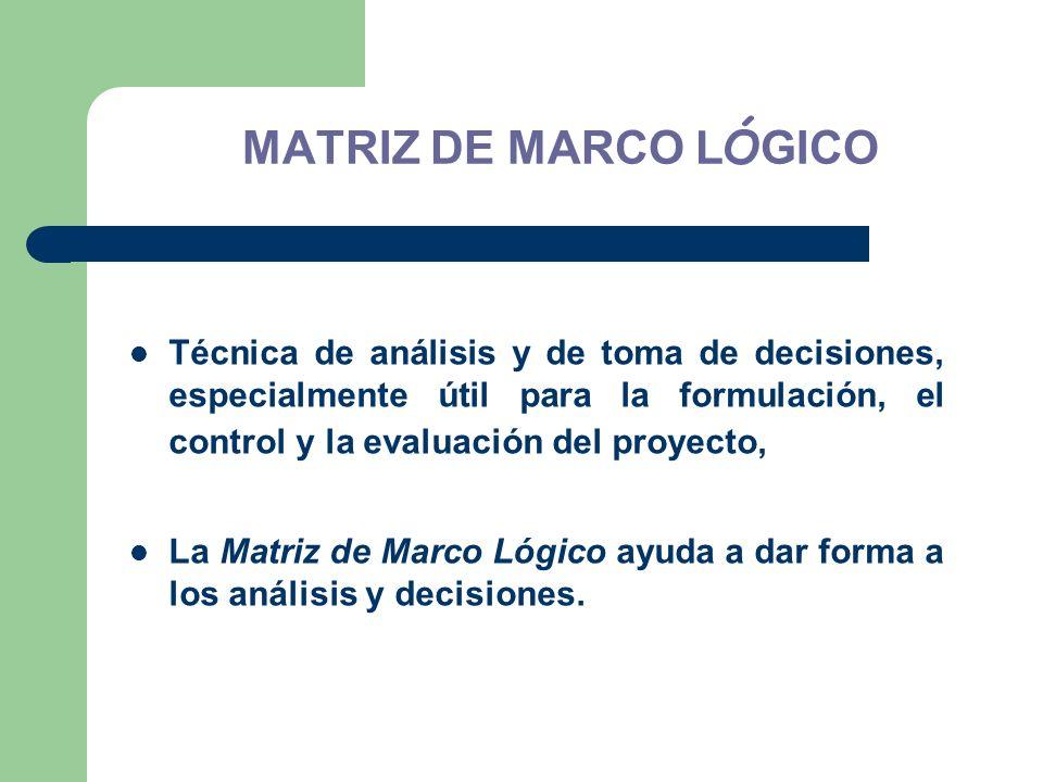 Técnica de análisis y de toma de decisiones, especialmente útil para la formulación, el control y la evaluación del proyecto, La Matriz de Marco Lógic