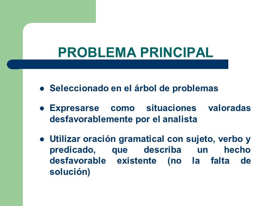 Seleccionado en el árbol de problemas Expresarse como situaciones valoradas desfavorablemente por el analista Utilizar oración gramatical con sujeto,
