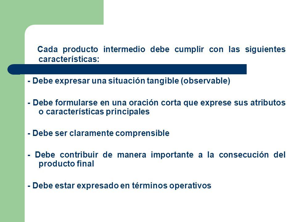 Cada producto intermedio debe cumplir con las siguientes características: - Debe expresar una situación tangible (observable) - Debe formularse en una