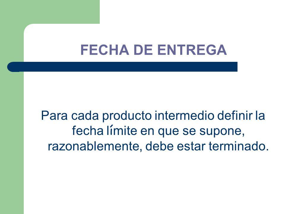 FECHA DE ENTREGA Para cada producto intermedio definir la fecha l í mite en que se supone, razonablemente, debe estar terminado.