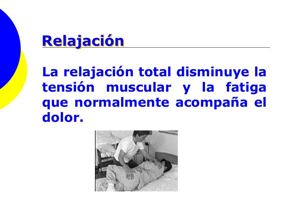 Relajación La relajación total disminuye la tensión muscular y la fatiga que normalmente acompaña el dolor.