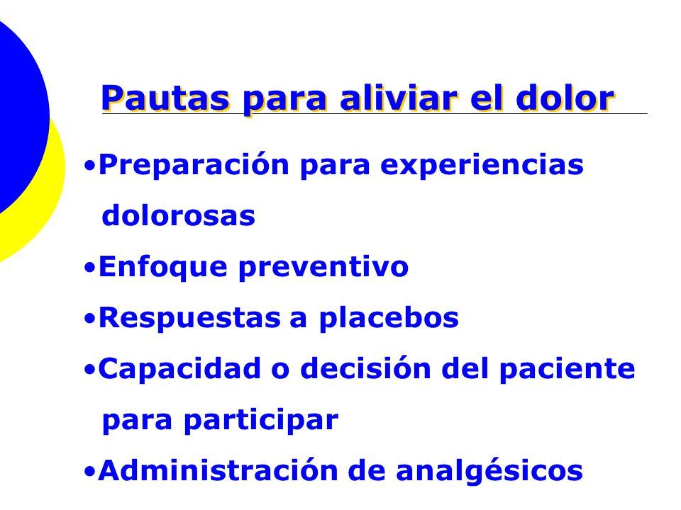 Pautas para aliviar el dolor Preparación para experiencias dolorosas Enfoque preventivo Respuestas a placebos Capacidad o decisión del paciente para p