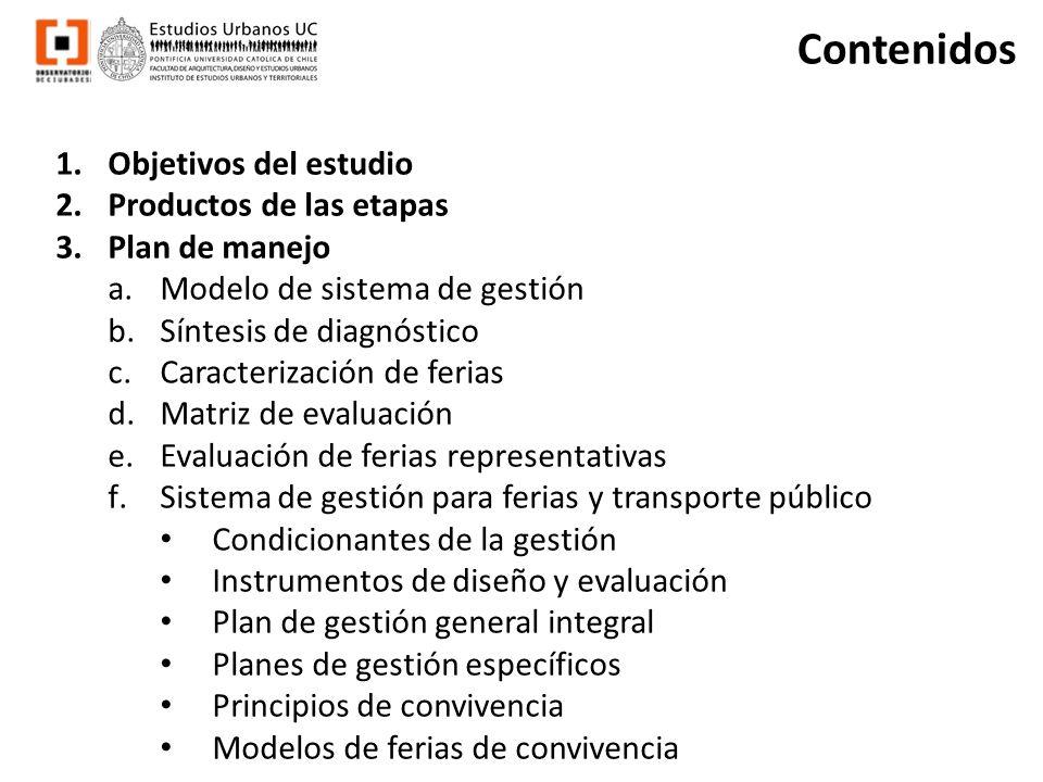 Contenidos 1.Objetivos del estudio 2.Productos de las etapas 3.Plan de manejo a.Modelo de sistema de gestión b.Síntesis de diagnóstico c.Caracterizaci