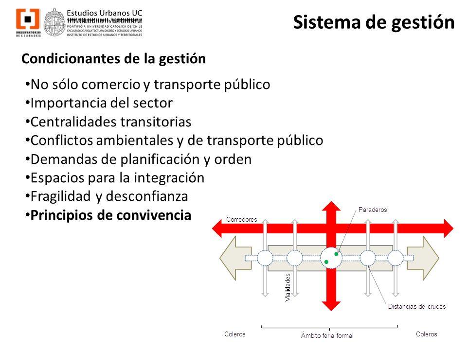 Condicionantes de la gestión No sólo comercio y transporte público Importancia del sector Centralidades transitorias Conflictos ambientales y de trans