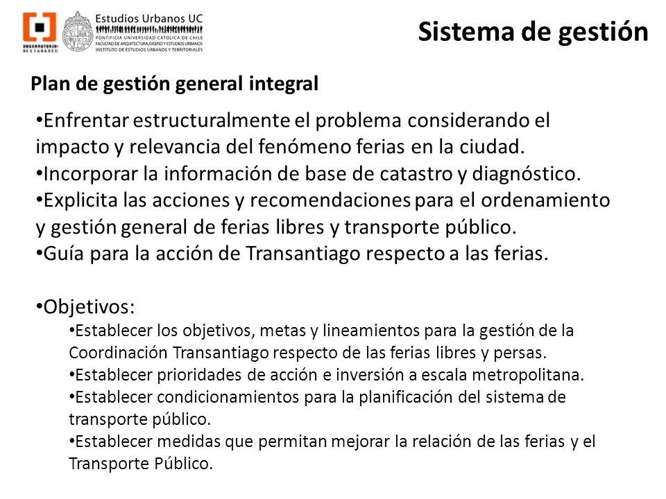 Plan de gestión general integral Enfrentar estructuralmente el problema considerando el impacto y relevancia del fenómeno ferias en la ciudad. Incorpo