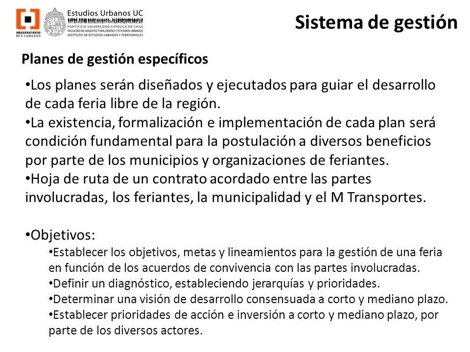 Planes de gestión específicos Sistema de gestión Los planes serán diseñados y ejecutados para guiar el desarrollo de cada feria libre de la región. La
