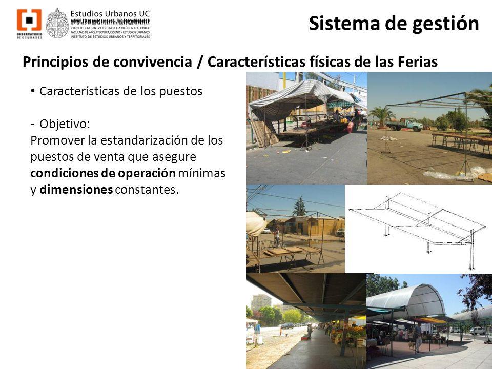 Principios de convivencia / Características físicas de las Ferias Sistema de gestión Características de los puestos -Objetivo: Promover la estandariza