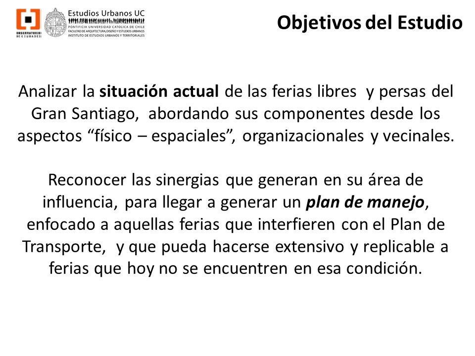 Objetivos del Estudio Analizar la situación actual de las ferias libres y persas del Gran Santiago, abordando sus componentes desde los aspectos físic