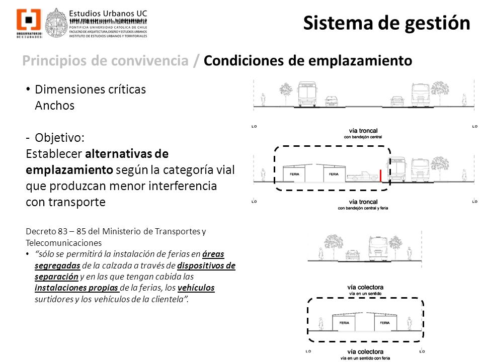 Principios de convivencia / Condiciones de emplazamiento Sistema de gestión Dimensiones críticas Anchos -Objetivo: Establecer alternativas de emplazam