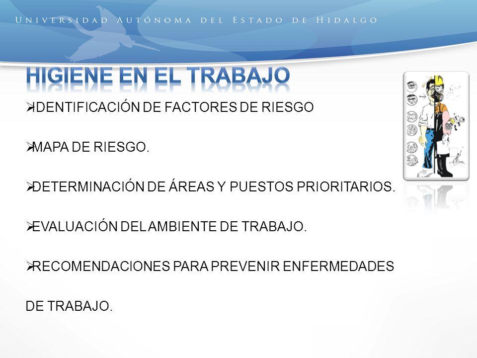 IDENTIFICACIÓN DE FACTORES DE RIESGO MAPA DE RIESGO. DETERMINACIÓN DE ÁREAS Y PUESTOS PRIORITARIOS. EVALUACIÓN DEL AMBIENTE DE TRABAJO. RECOMENDACIONE