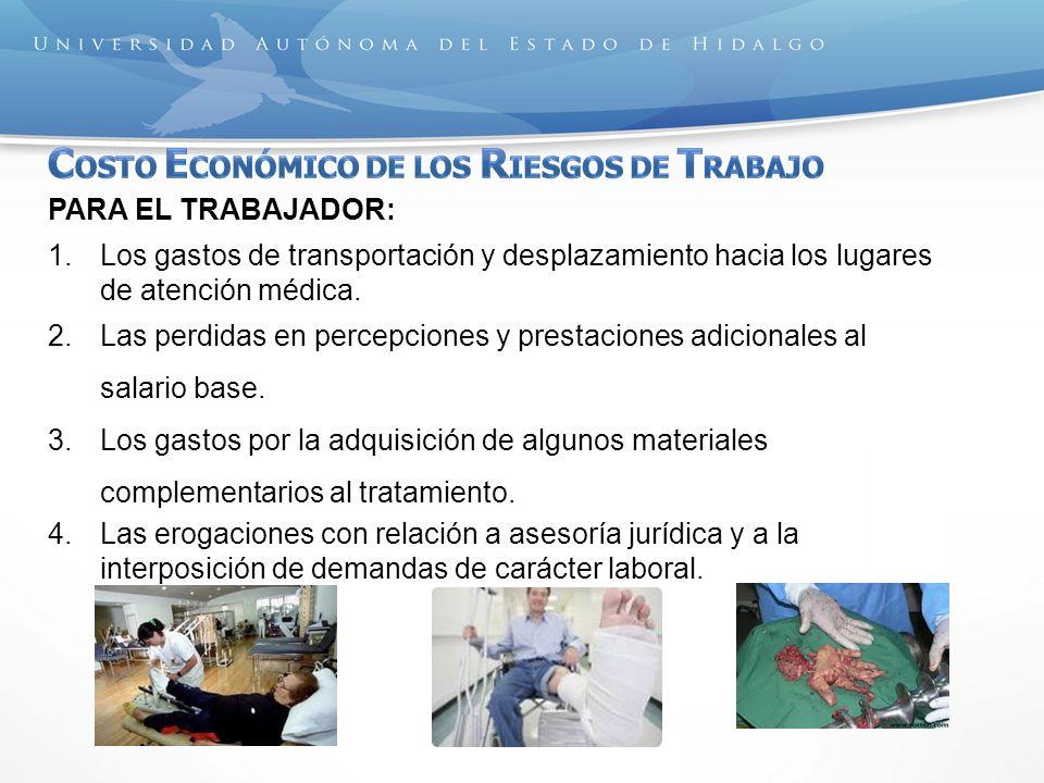 PARA EL TRABAJADOR: 1.Los gastos de transportación y desplazamiento hacia los lugares de atención médica. 2.Las perdidas en percepciones y prestacione