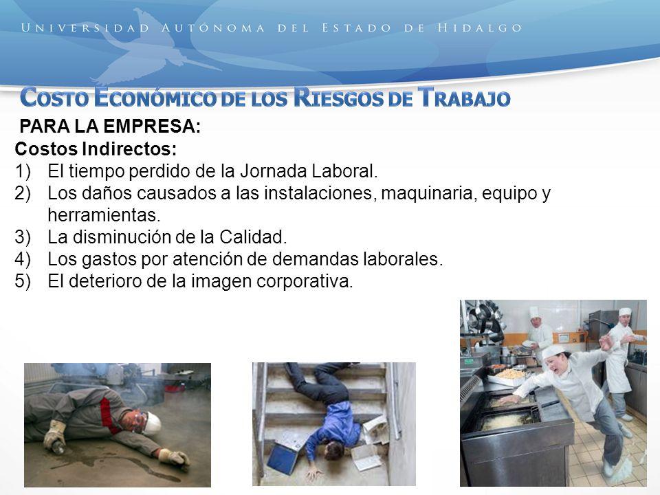 PARA LA EMPRESA: Costos Indirectos: 1)El tiempo perdido de la Jornada Laboral. 2)Los daños causados a las instalaciones, maquinaria, equipo y herramie