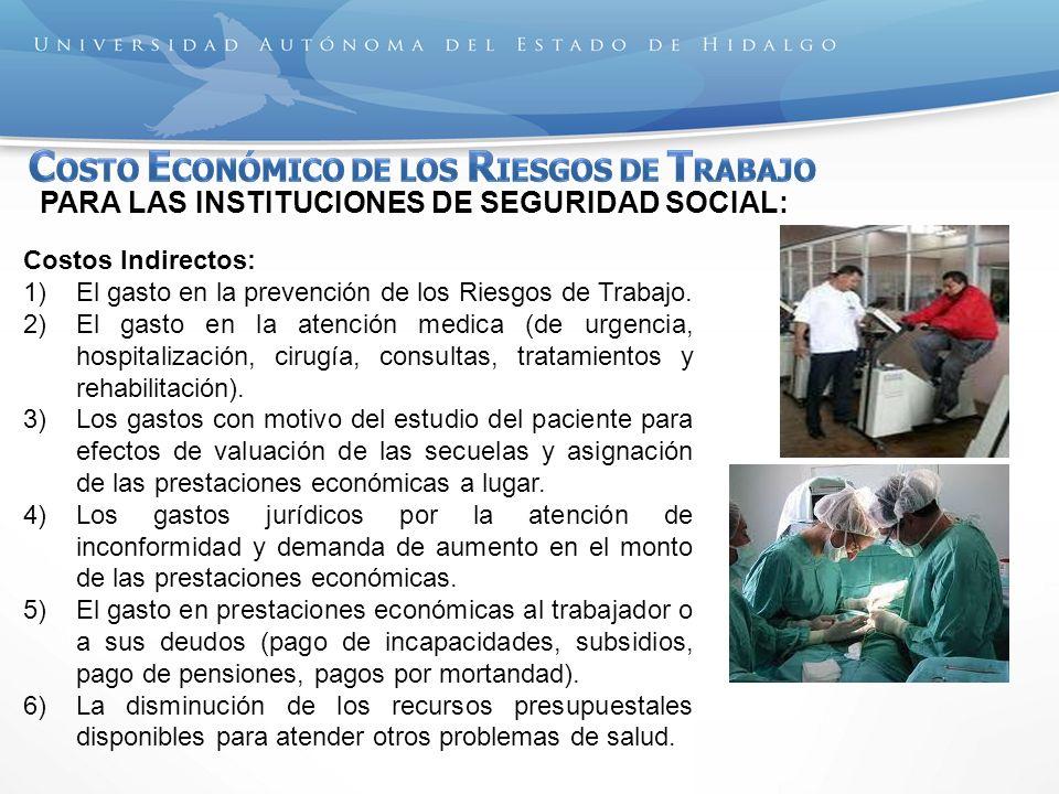 PARA LAS INSTITUCIONES DE SEGURIDAD SOCIAL: Costos Indirectos: 1)El gasto en la prevención de los Riesgos de Trabajo. 2)El gasto en la atención medica