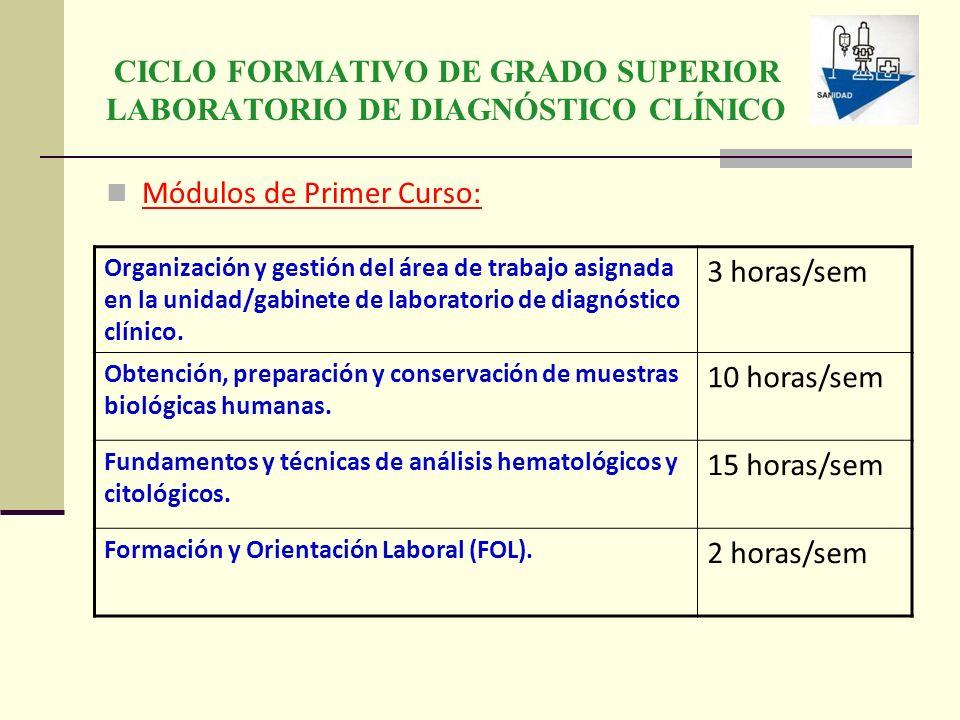 CICLO FORMATIVO DE GRADO SUPERIOR LABORATORIO DE DIAGNÓSTICO CLÍNICO Módulos de Primer Curso: Organización y gestión del área de trabajo asignada en l
