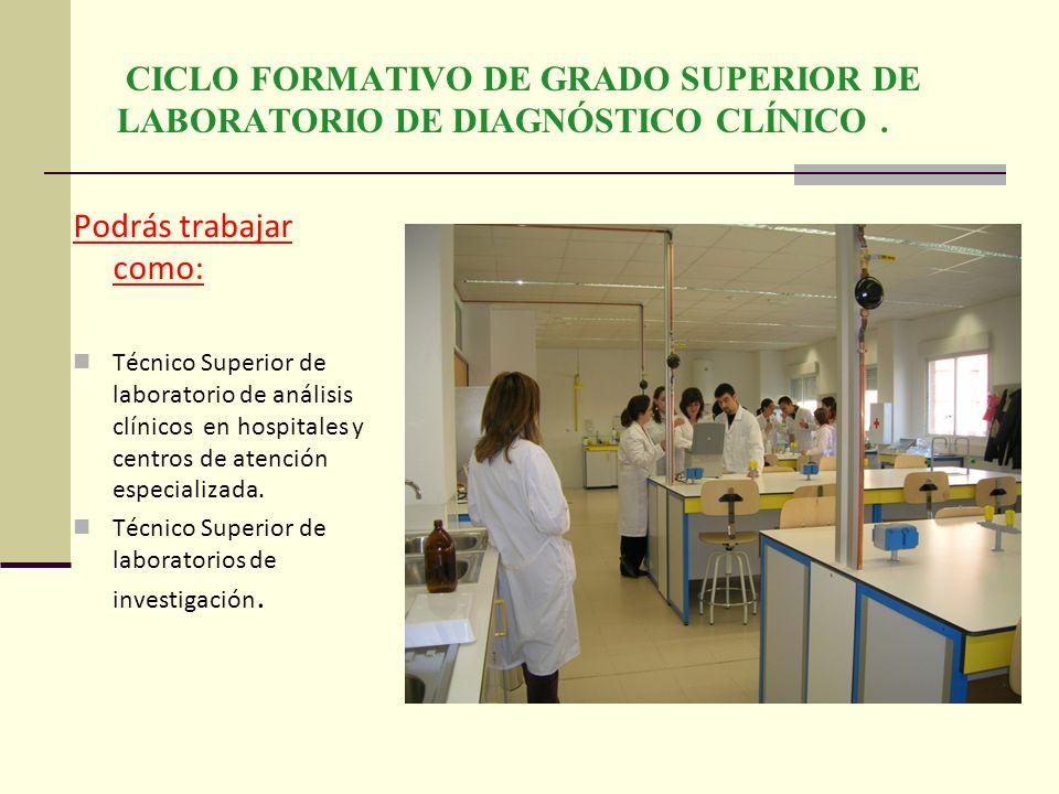 CICLO FORMATIVO DE GRADO SUPERIOR DE LABORATORIO DE DIAGNÓSTICO CLÍNICO. Podrás trabajar como: Técnico Superior de laboratorio de análisis clínicos en