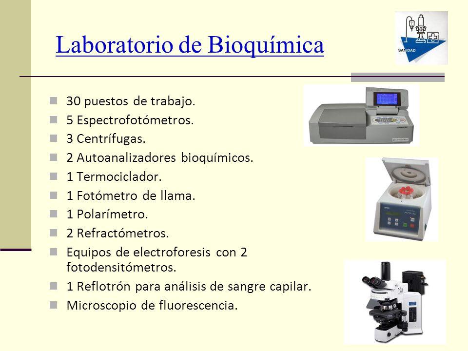 Laboratorio de Bioquímica 30 puestos de trabajo. 5 Espectrofotómetros. 3 Centrífugas. 2 Autoanalizadores bioquímicos. 1 Termociclador. 1 Fotómetro de