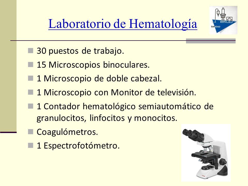 Laboratorio de Hematología 30 puestos de trabajo. 15 Microscopios binoculares. 1 Microscopio de doble cabezal. 1 Microscopio con Monitor de televisión