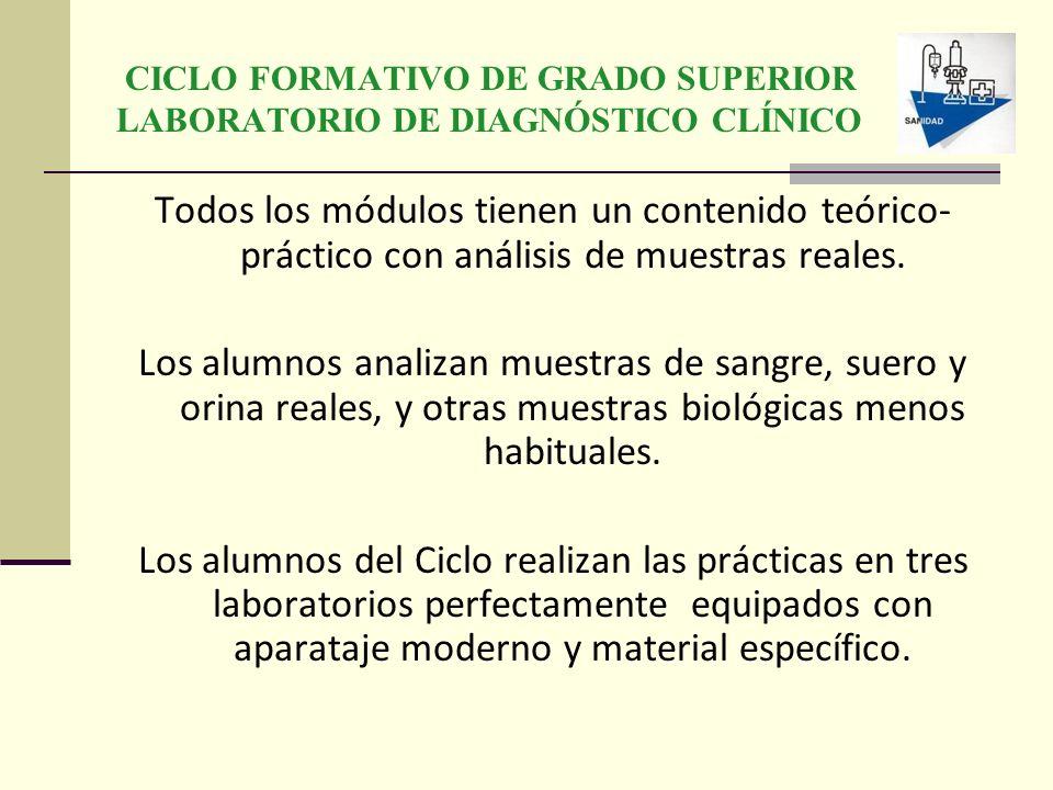 CICLO FORMATIVO DE GRADO SUPERIOR LABORATORIO DE DIAGNÓSTICO CLÍNICO Todos los módulos tienen un contenido teórico- práctico con análisis de muestras