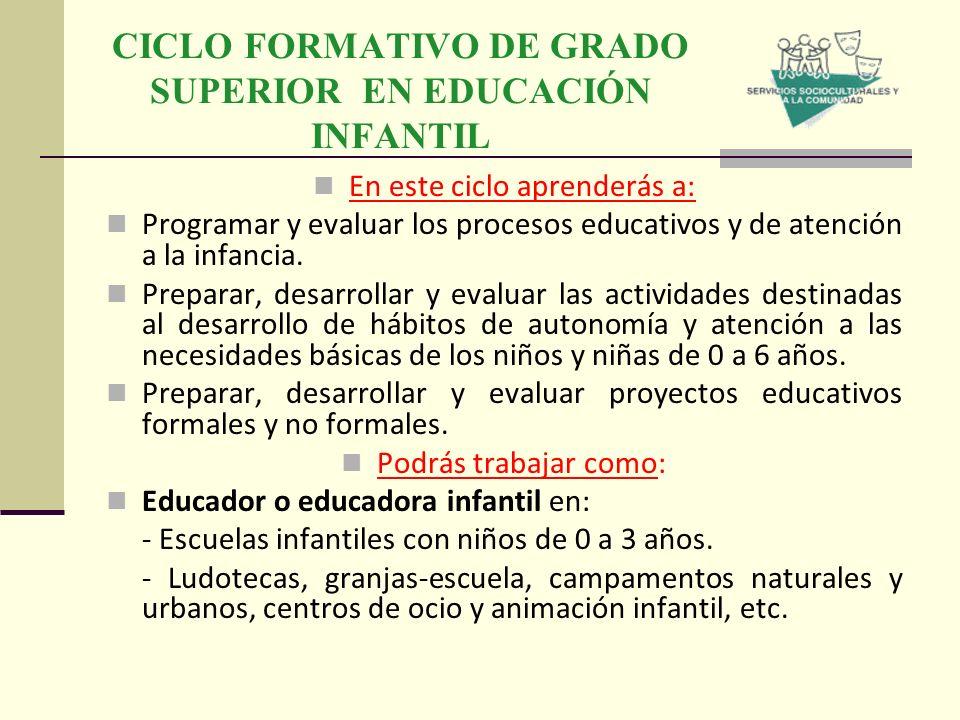 CICLO FORMATIVO DE GRADO SUPERIOR EN EDUCACIÓN INFANTIL En este ciclo aprenderás a: Programar y evaluar los procesos educativos y de atención a la inf