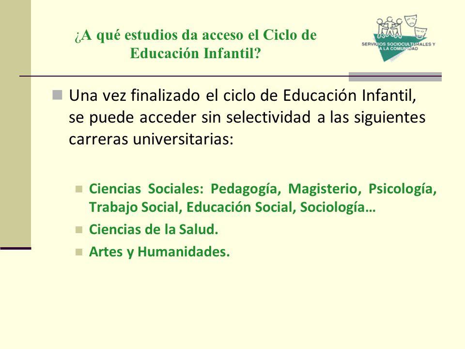 ¿A qué estudios da acceso el Ciclo de Educación Infantil? Una vez finalizado el ciclo de Educación Infantil, se puede acceder sin selectividad a las s