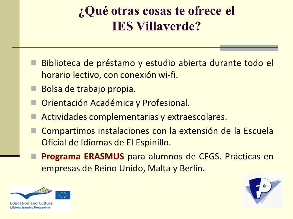 ¿Qué otras cosas te ofrece el IES Villaverde? Biblioteca de préstamo y estudio abierta durante todo el horario lectivo, con conexión wi-fi. Bolsa de t