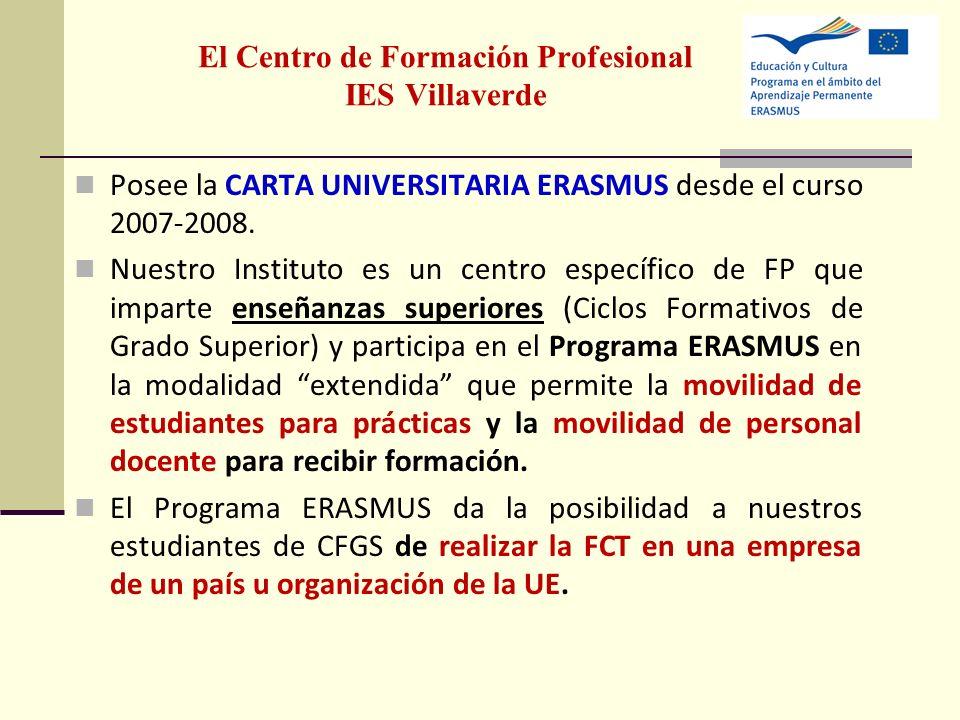 El Centro de Formación Profesional IES Villaverde Posee la CARTA UNIVERSITARIA ERASMUS desde el curso 2007-2008. Nuestro Instituto es un centro especí