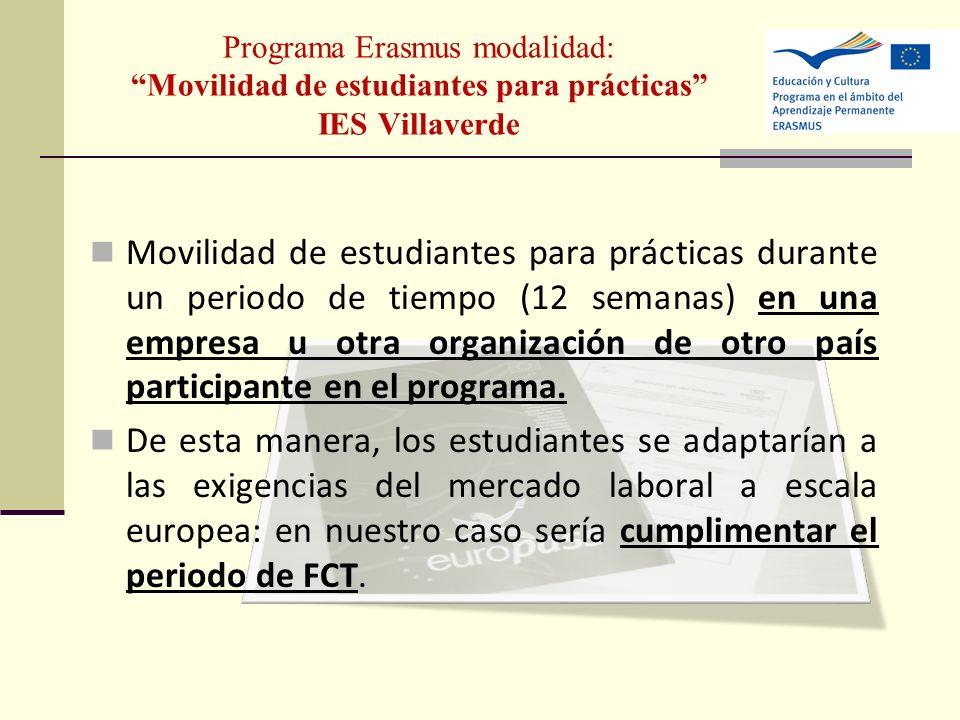 Programa Erasmus modalidad: Movilidad de estudiantes para prácticas IES Villaverde Movilidad de estudiantes para prácticas durante un periodo de tiemp
