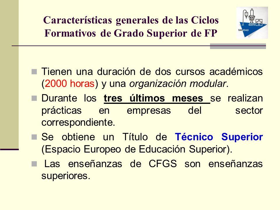Características generales de las Ciclos Formativos de Grado Superior de FP Tienen una duración de dos cursos académicos (2000 horas) y una organizació