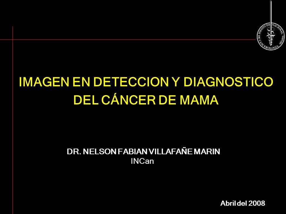 IMAGEN EN DETECCION Y DIAGNOSTICO DEL CÁNCER DE MAMA DR. NELSON FABIAN VILLAFAÑE MARIN INCan Abril del 2008