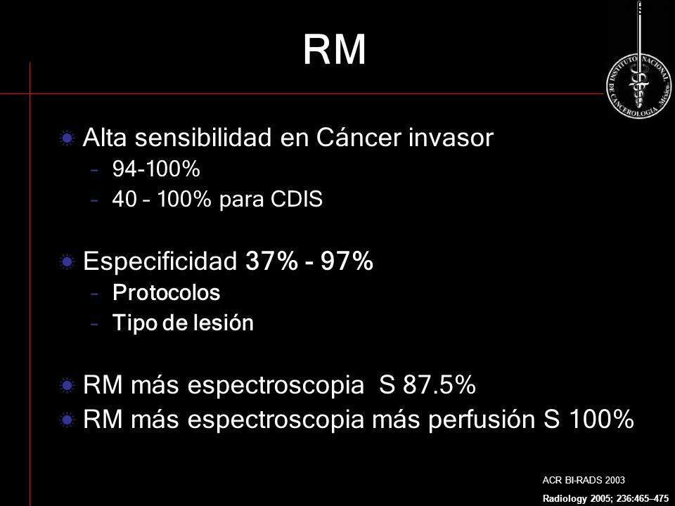 Alta sensibilidad en Cáncer invasor –94-100% –40 – 100% para CDIS Especificidad 37% - 97% –Protocolos –Tipo de lesión RM más espectroscopia S 87.5% RM