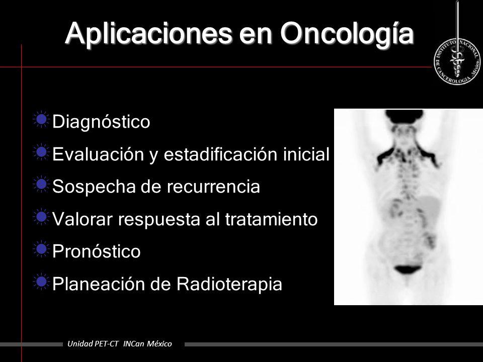 Aplicaciones en Oncología Diagnóstico Evaluación y estadificación inicial Sospecha de recurrencia Valorar respuesta al tratamiento Pronóstico Planeaci