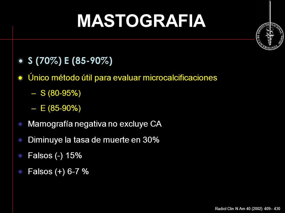 MASTOGRAFIA S (70%) E (85-90%) Único método útil para evaluar microcalcificaciones –S (80-95%) –E (85-90%) Mamografía negativa no excluye CA Diminuye