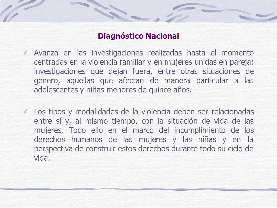 Diagnóstico Nacional Avanza en las investigaciones realizadas hasta el momento centradas en la violencia familiar y en mujeres unidas en pareja; inves