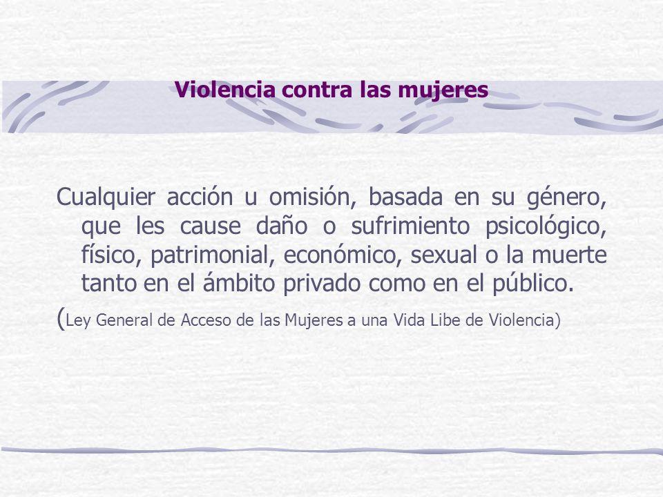 Violencia contra las mujeres Cualquier acción u omisión, basada en su género, que les cause daño o sufrimiento psicológico, físico, patrimonial, econó