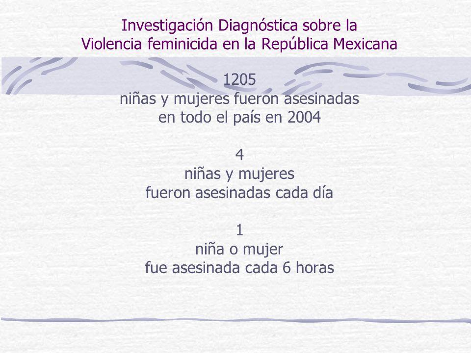 Investigación Diagnóstica sobre la Violencia feminicida en la República Mexicana 1205 niñas y mujeres fueron asesinadas en todo el país en 2004 4 niña