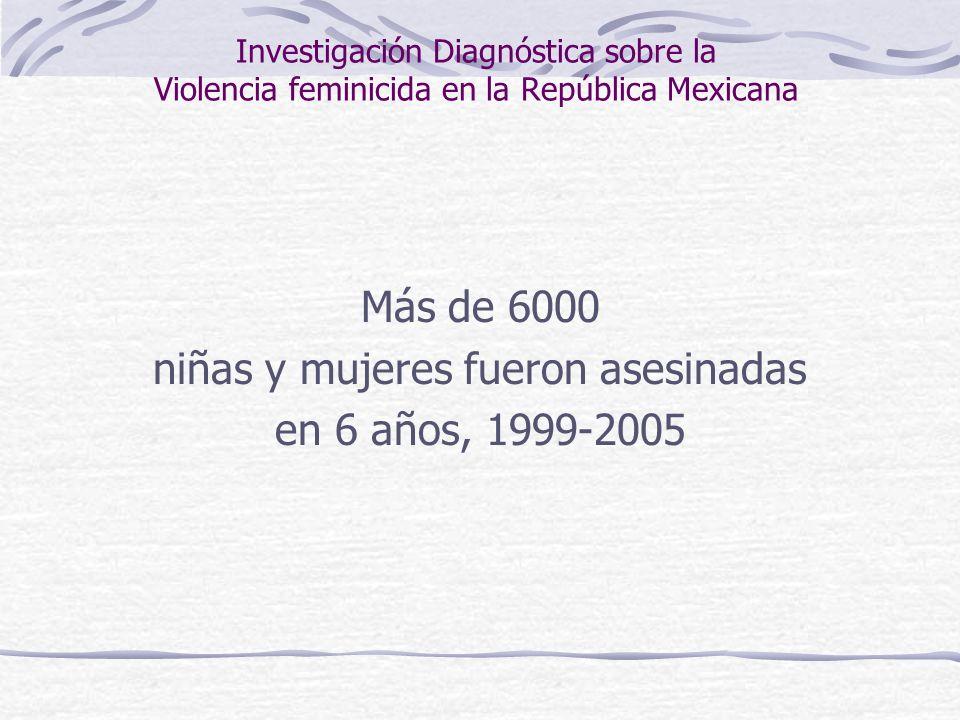 Investigación Diagnóstica sobre la Violencia feminicida en la República Mexicana Más de 6000 niñas y mujeres fueron asesinadas en 6 años, 1999-2005