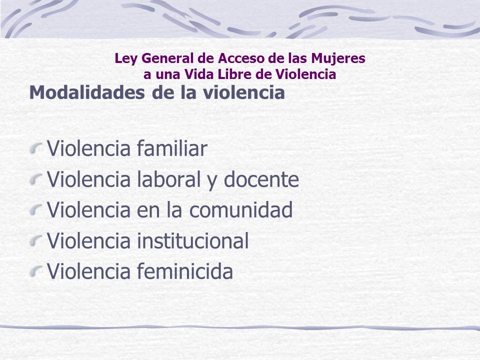 Ley General de Acceso de las Mujeres a una Vida Libre de Violencia Modalidades de la violencia Violencia familiar Violencia laboral y docente Violenci