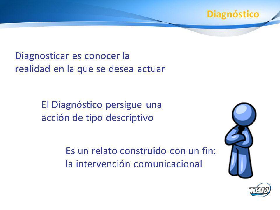 Diagnosticar es conocer la realidad en la que se desea actuar El Diagnóstico persigue una acción de tipo descriptivo Diagnóstico Es un relato construi