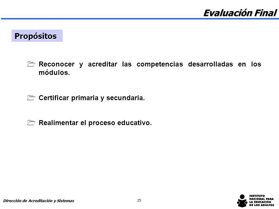 Evaluación final y acreditación Dirección de Acreditación y Sistemas 24